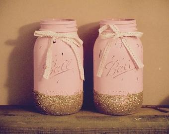 Chalk Painted and Glitter Dipped Mason Jars - Set of 2.