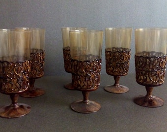 Vintage Plastic Glass Set, Plastic Glass, Plastic Set, Brown Plastic, Brown Glass.