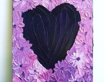 Textured Heart Painting, Wedding gift, Anniversary gift, Heart Art, Valentines Day Gift, palette knife painting - daisy painting, 14 x 11