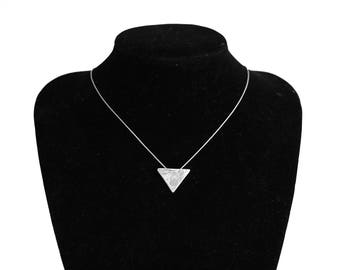 Hammered silver triangle arrow pendant necklace