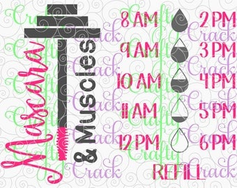 Mascara & Muscles Water Bottle Decal Tracker - SVG, DXF, PNG - Digital Download for Silhouette Studio, Cricut Design Space