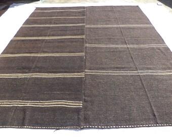 "Oversize Dark Brown And Cream Kilim Rug,10,3""x12,4"" Feet 312x377 Cm Large Vintage Turkish Kilim Rug,Stripe Pattern Palece Size Kilim Rug."