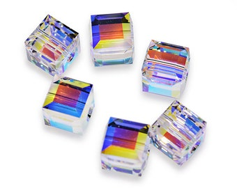 Swarovski Crystal Cube Crystal AB Beads 5601- Available in 4mm, 6mm, 8mm