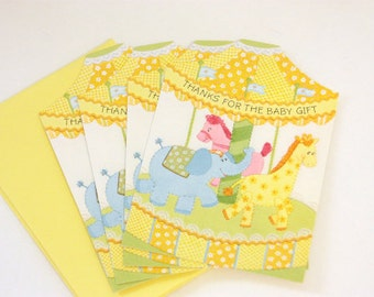 Vintage Baby Shower Gift Thank You Cards Set of 4, Gender Neutral Shower, Baby Shower Thank You, Animal Baby Shower, Pastel Baby Shower