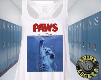 NEW Funny Jaws Parody Paws Kitty Kitten Womens Flowy Relaxed White Tank Top All Sizes cats kitties sharks swimmers Ocean