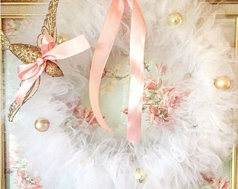 Vintage Style Tulle Christmas Wreath
