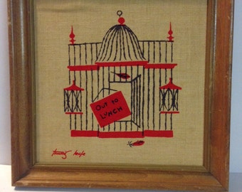 Vintage Motto Tammis Keefe Quote Saying Out To Lunch Bird Cage Birdcage Mid Century Textile