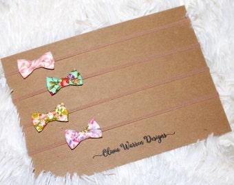 Floral micro mini bow headband set