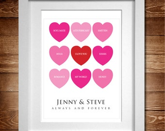 Nine Hearts Word Art Personalised print A4 (Also available as A3)