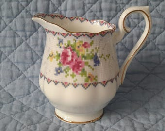 Petit Point Royal Albert Creamer, England c.1950