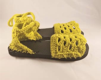 Crochet Flip Flop Sandals, Handmade Crochet Flip Flops, Made to Order Crochet Sandals, Custom Handmade Crochet Flip Flop Sandals
