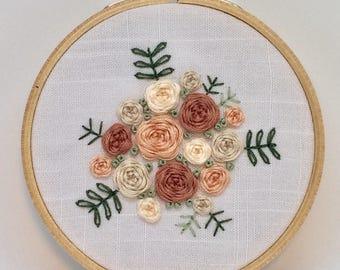 Pink pastel florals embroidery hoop