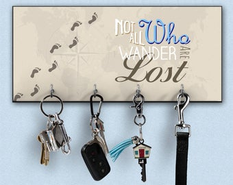 key hanger, not all who wander are lost gift, key rack, key hook