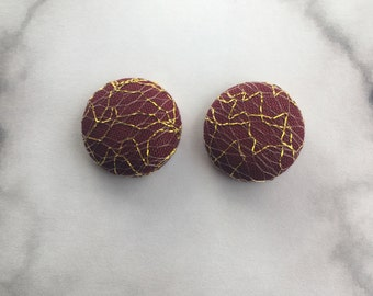 Gold Mesh on Burgundy Fabric Button Earrings