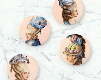 Chapeaux de fantaisie , bridesmaid gift, ceramic coaster set, vintage decor, whimsical coaster set, wine lover gift