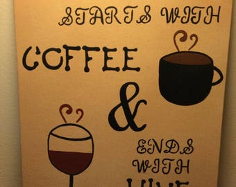 Handpainted canvas. 3 different styles.... Wicked chickens lay deviled eggs, Coffee and friends make the perfect blend...