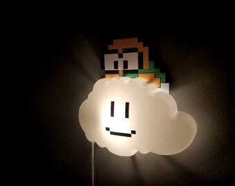 Super Mario Brothers Night Light, Nursery Decor, Geek Gift, Geek Night Light, Lakitu Cloud Lamp, Video Game Night Light, Home Decor,Birthday