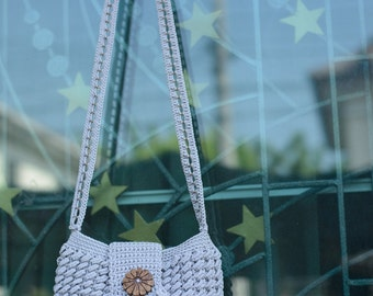 Crochet shoulder bag with button, Grey
