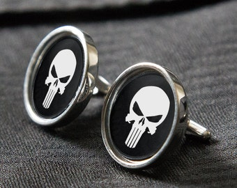 "Hoffner Sterling Silver Cufflinks ""PUNISHER"" Big Beautiful & Manly"