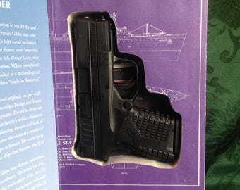 """Hollow Book Safe for Small Handgun. Magnetic closure. """"A Man and His Ship."""""""