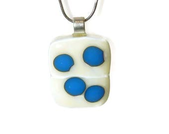 French Vanilla fused glass pendant with blue reactive dots