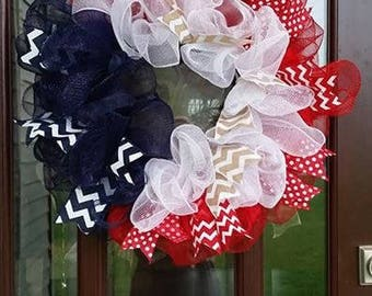 Red, White, and Blue Deco Mesh Independence Day Wreath