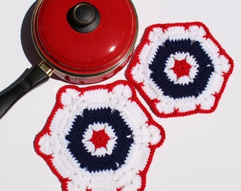 SALE!!! Set of 2 New Handmade Crochet Americana Double Layer Hot Pad & Pot Holder - Red, White, Blue - Ready to ship