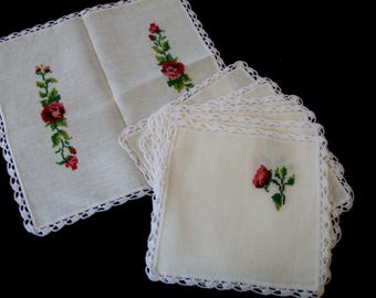 vintage embroidery linens, tablecloth, napkins, table decor, hand embroidery napkins, vintage hand embroidery linen, table linen, home decor