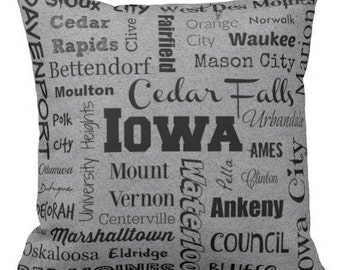Iowa cities pillow - IA typography throw pillow - yellow or gray decorative pillow - Ia. cushion - gift
