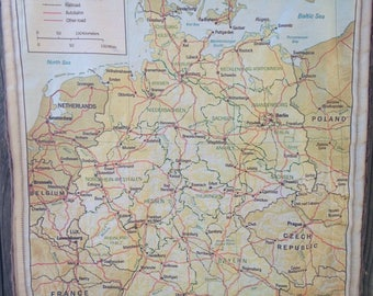 GERMANY map blanket- vintage German map baby minky security blankie- small travel or fidget blanky, lovie, lovey, woobie - 15 by 18.5 inches