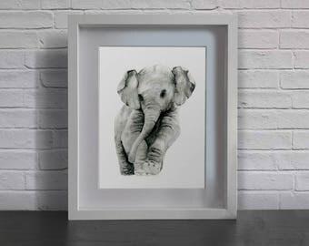 watercolor print ' baby elephant'