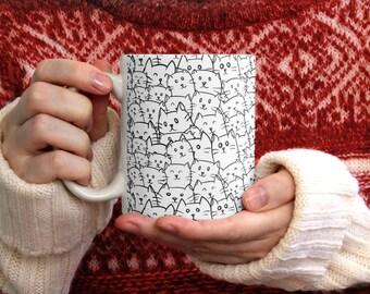 Cat doodles coffee mug