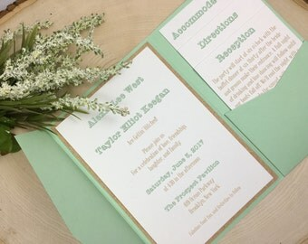 Mint Green & Tan Wedding Invitations - Custom Wedding Invites - Rustic Wedding Invitation Set