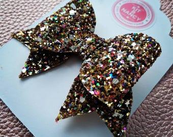 HANDMADE // Chunky Multi Coloured Glitter Bow // Dinky Glitter Bow // Mini Glitter Bow // Hair Bows // Girls Bows // Spring Easter Bow