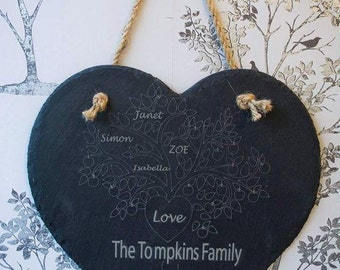 FREE P&P family tree, large love heart hanger