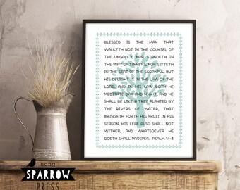 Scripture Wall Art Print, Psalm 1: 1-3, Typography Printable, He Shall Be Like A Tree, Bible Verse Art Print, Digital Download