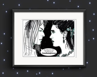 Signed 'Move The Stars' Labyrinth Movie Illustration Print