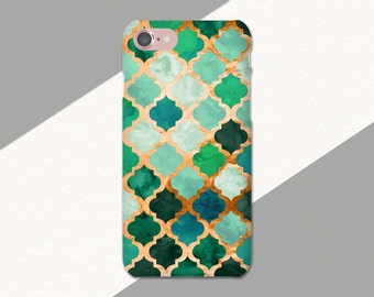 Green and Copper Phone Case, iPhone 7 Case, Moroccan Pattern, iPhone 6 Plus Case Green, iPhone SE Case, iPhone Cases, Phone Cases for iPhone