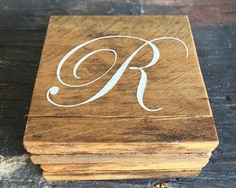 Custom Reclaimed Wood Coasters with Initial