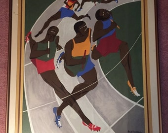 Munich Olympic Games 1971 by Jacob Lawrence Frame Art Paintings for sale 37in x 1.25in x 34in Free Shipping Artwork