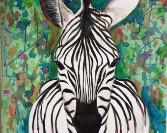 Zebra, Black and white, Acrylic painting on canvas, Giclee print - Stripes