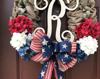 Burlap Military Wreath