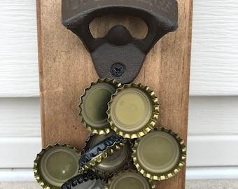 Magnetic Wall Bottle Catcher, Bottle Opener, Rustic, Magnetic Rustic Bottle Catcher, Wall Mounted, Bottle Opener, Rustic, Magnetic, Man Cave