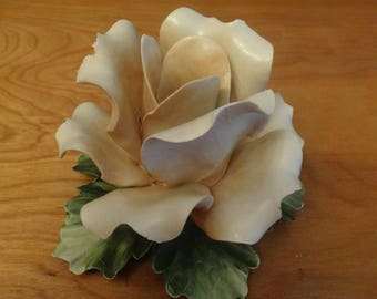 Porcelain Flower, Capodimonte Style, Candle Holder, Pale Peach Rose, Made Italy