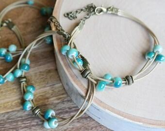 Ceramic Sky Blue Boho Bead Bracelet Waxed Linen Cord For Women/ Girls Jewelry