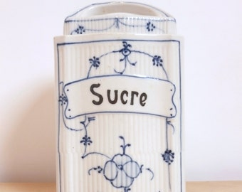 French Vintage box old sugar - retro-porcelain-white and blue Vintage french sugar box case