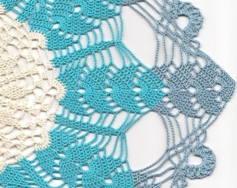 Large Lace Crochet Doily Blue Handmade Cotton Handcrafted Round Doilies Crocheted Centrepiece Lacy Home Decor Wedding Decorative Bohemian
