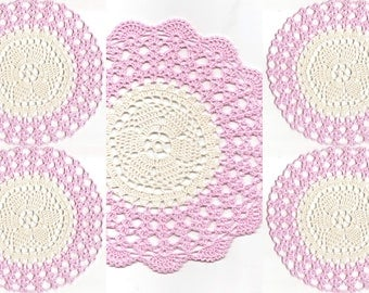 Set Of 5 Crocheted Doilies Crochet Medallions Assortment Mini Doily Boho Crafts Flower Dream Catcher Decorative Tea Time Coasters Home Decor