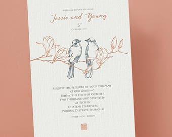 Letterpress Wedding Invitation, Wedding Invites with love birds