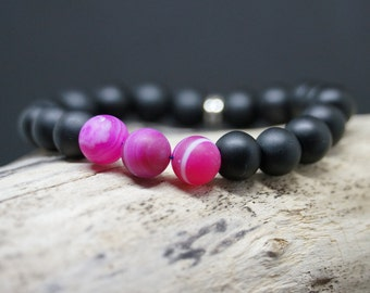 "Bracelet series Simply the ""PinkOnyx"" matte Onyx Beads and polished pink Agate"